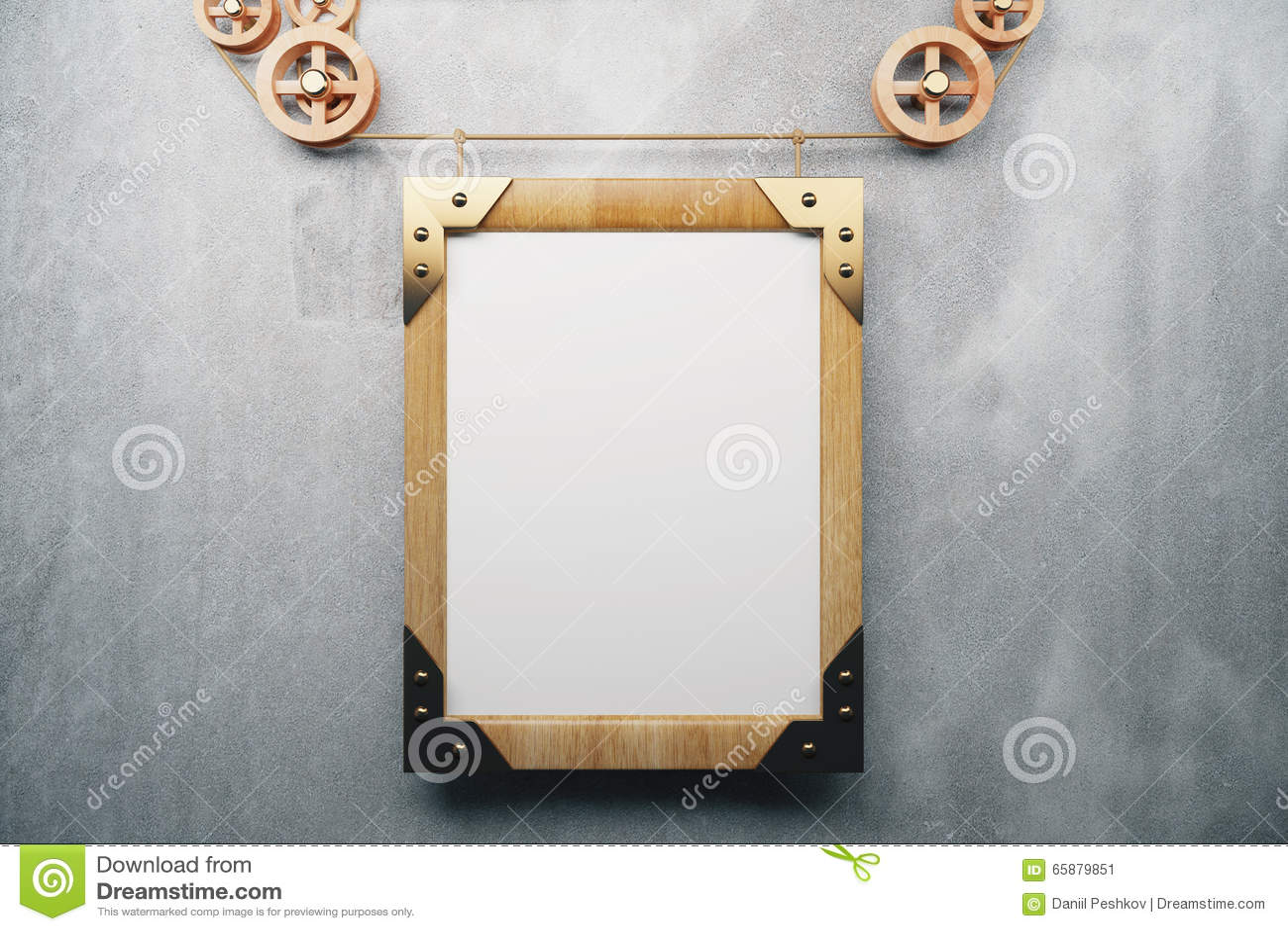 Estilo de madeira vazio do steampunk da moldura para retrato no muro de cimento cinzento