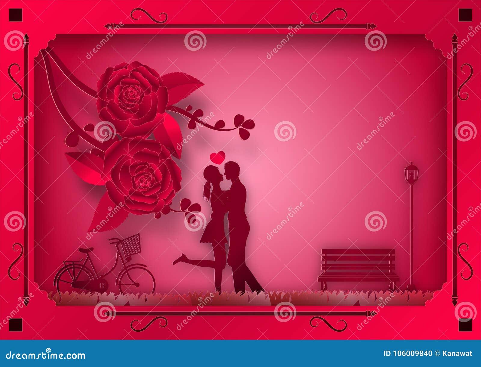 Estilo de papel del arte de flores y de vides color de rosa en fondo rosado en el marco con el hombre y la mujer en amor Ilustrac