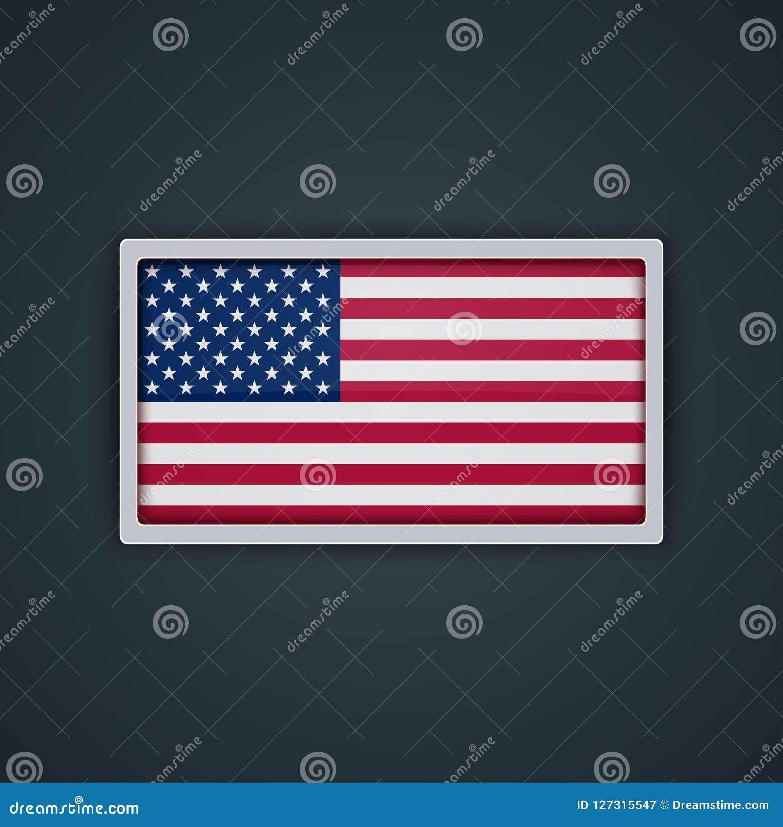 Estilo de vidro do botão da bandeira dos E.U. com quadro do metal