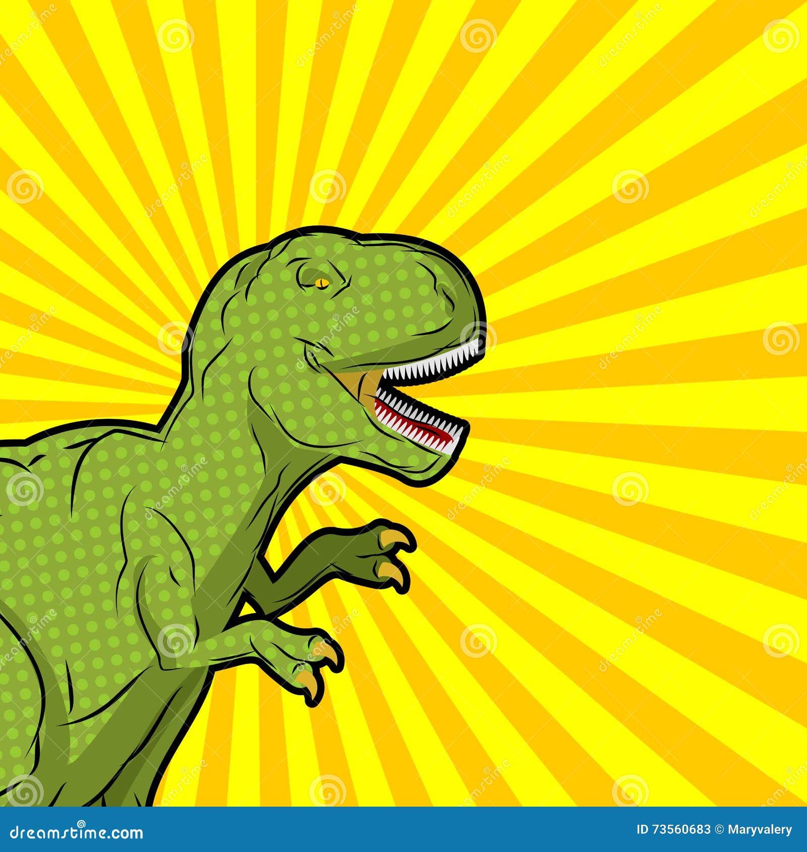 Estilo del arte pop del tiranosaurio Reptil prehistórico enojado Antiguo