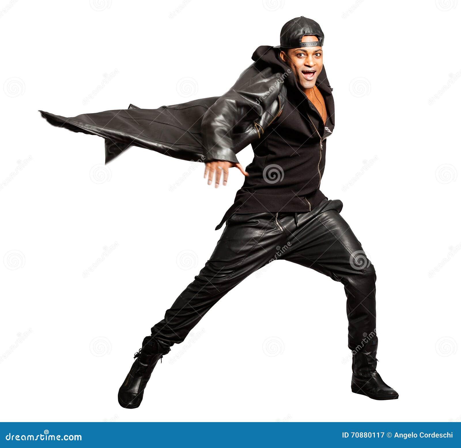Estilo del cuero de roca del hombre negro aislado en blanco Capa del movimiento Png disponible