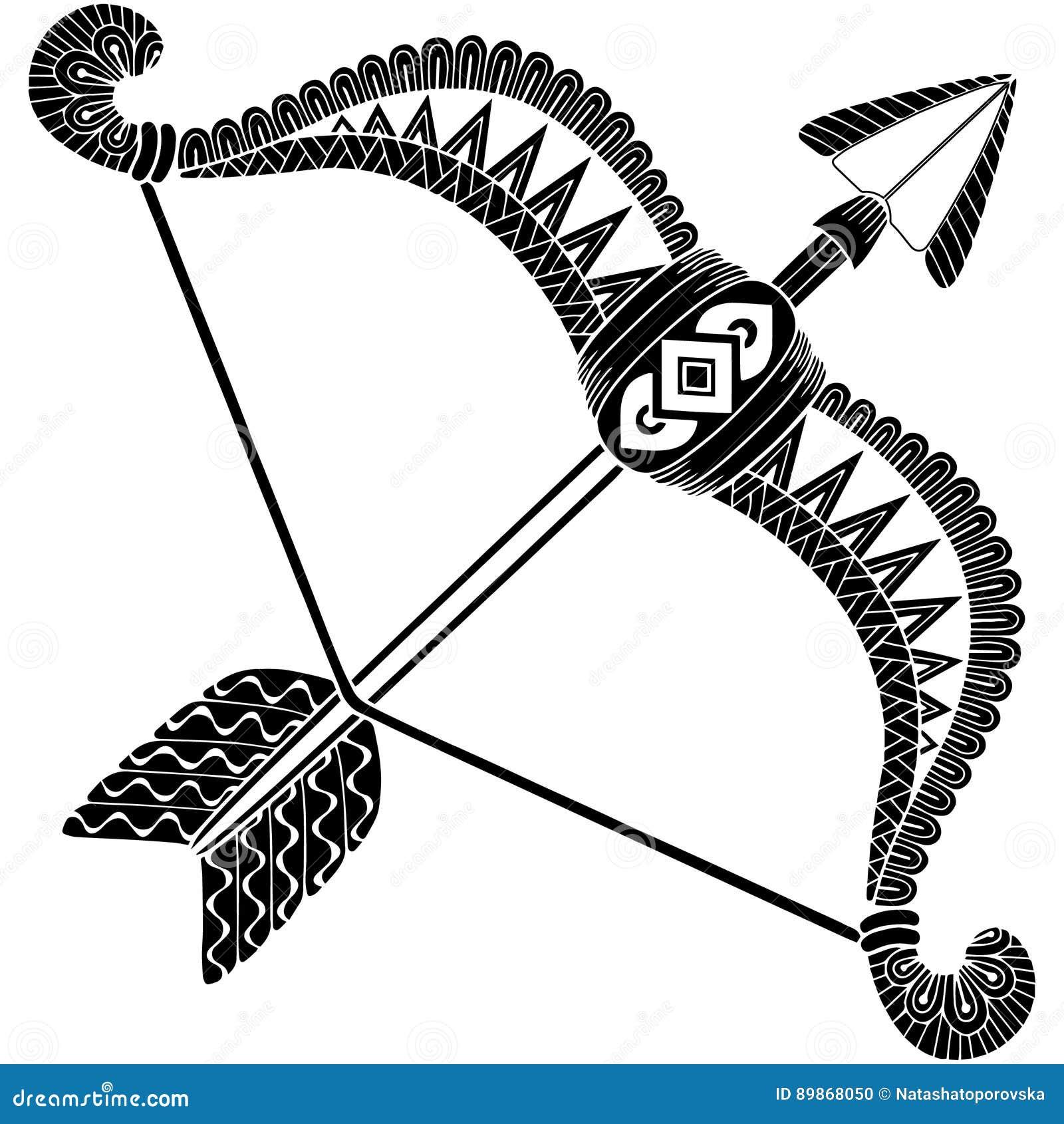 Estilo Del Tatuaje Silueta De Las Flechas Y Del Arco Aislados En El