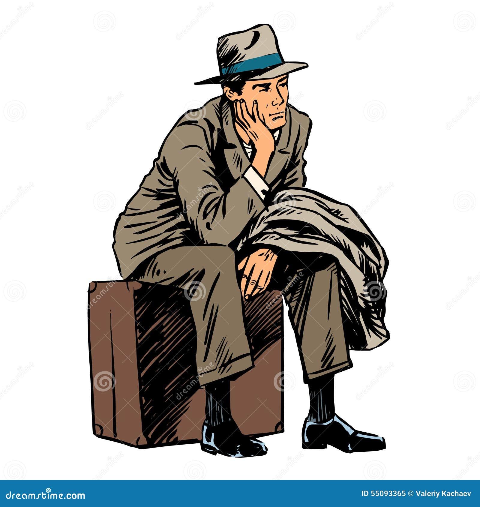 Estilo del viaje del viaje del pasajero que espera masculino retro