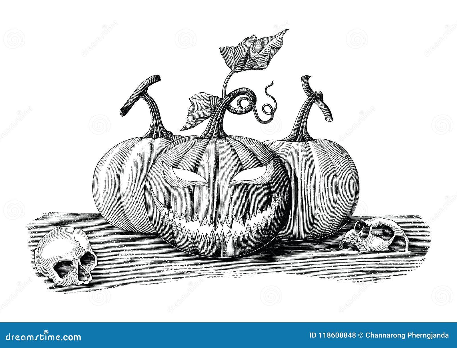 Estilo del vintage del dibujo de la mano del concepto del día de Halloween con el skul humano