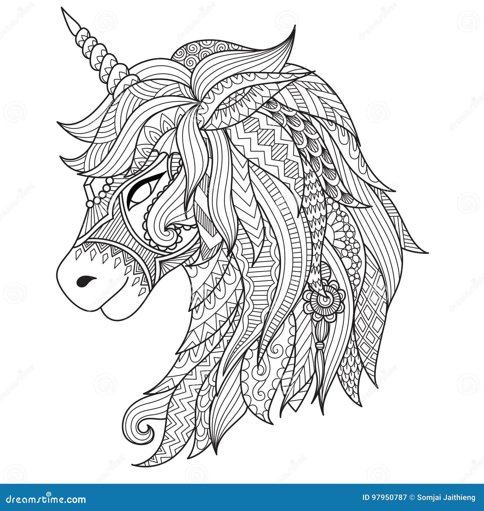Estilo Del Zentangle Del Unicornio Del Dibujo Para El Libro De ...