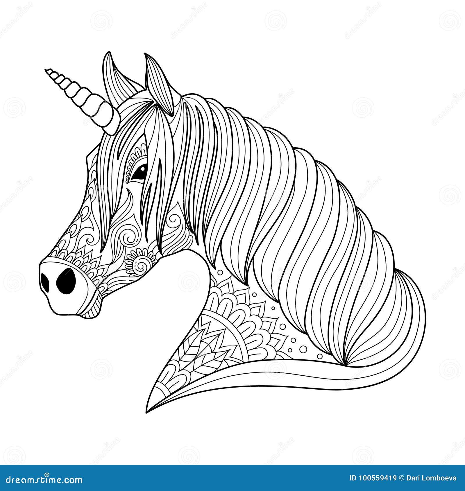 Estilo Del Zentangle Del Unicornio Del Dibujo Para El Adulto Y El ...