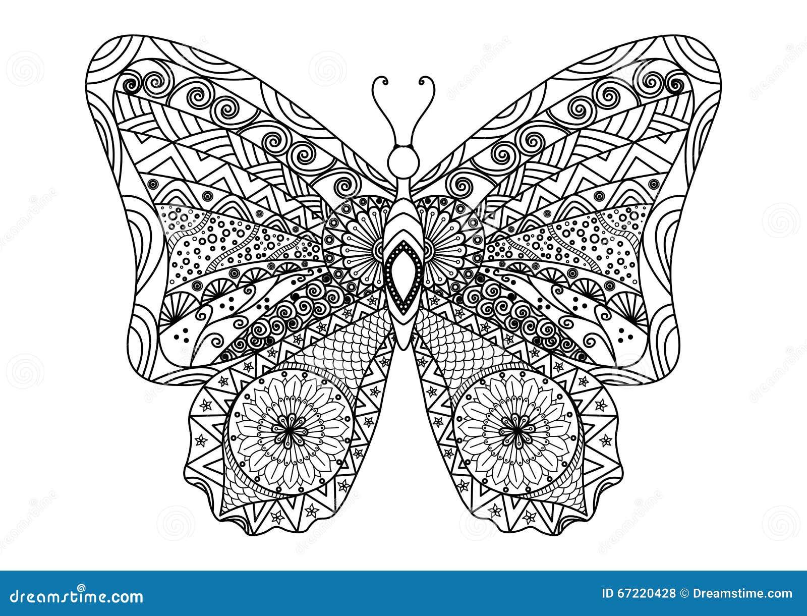 Mandalas Para Colorear Con Animales Y Zentangles: Estilo Dibujado Mano Del Zentangle De La Mariposa Para El