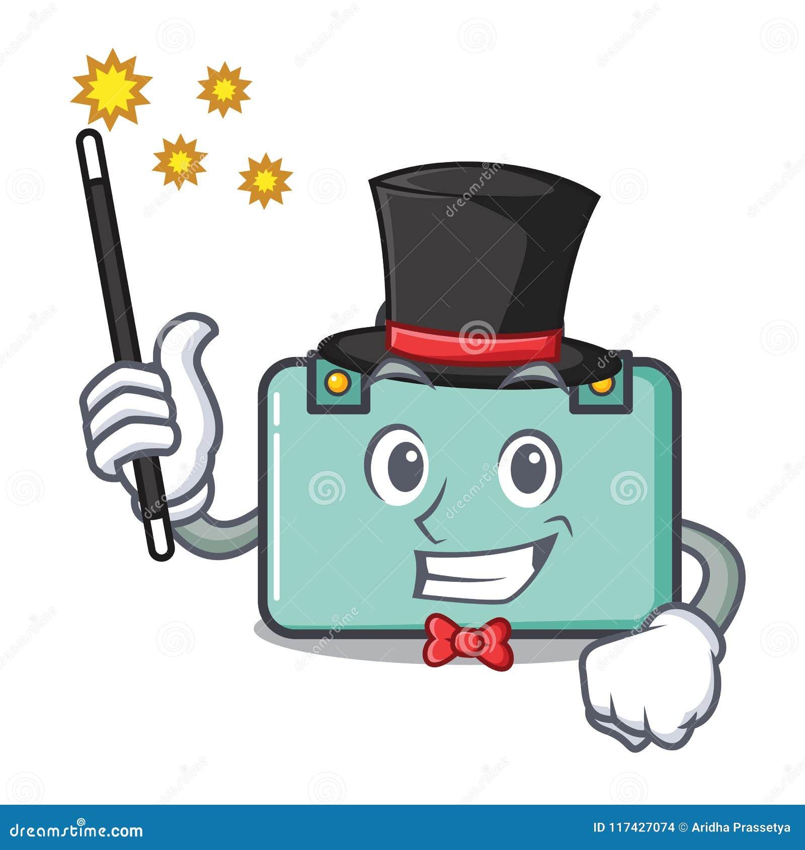 Estilo dos desenhos animados da mascote da mala de viagem do mágico
