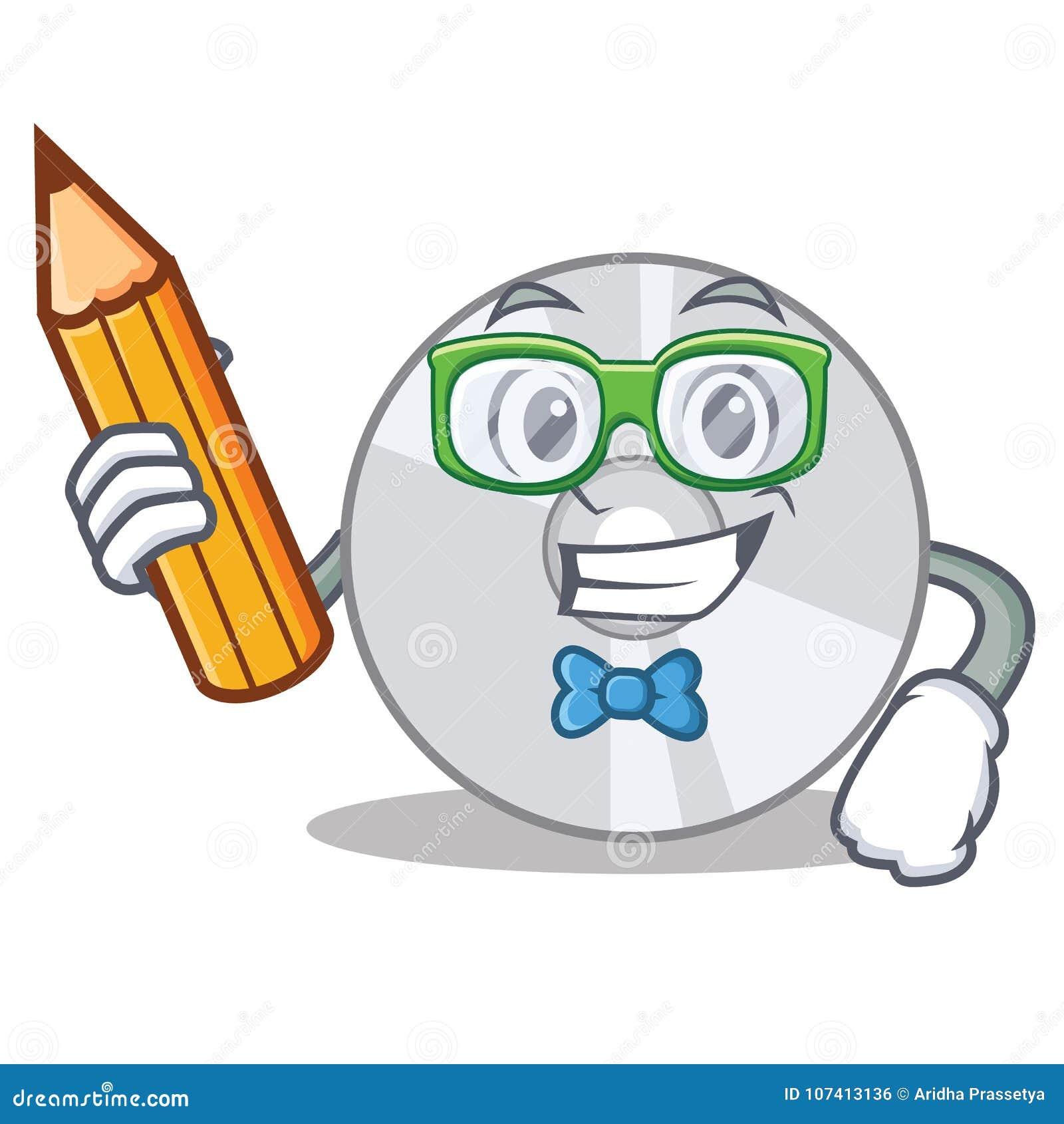 Estilo dos desenhos animados do caráter do CD do estudante