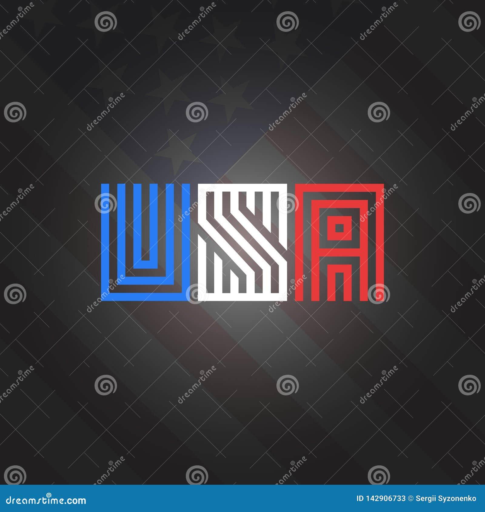 Estilo en el fondo nacional de la bandera americana de los colores, impresión patriótica del monograma de la inscripción de los E