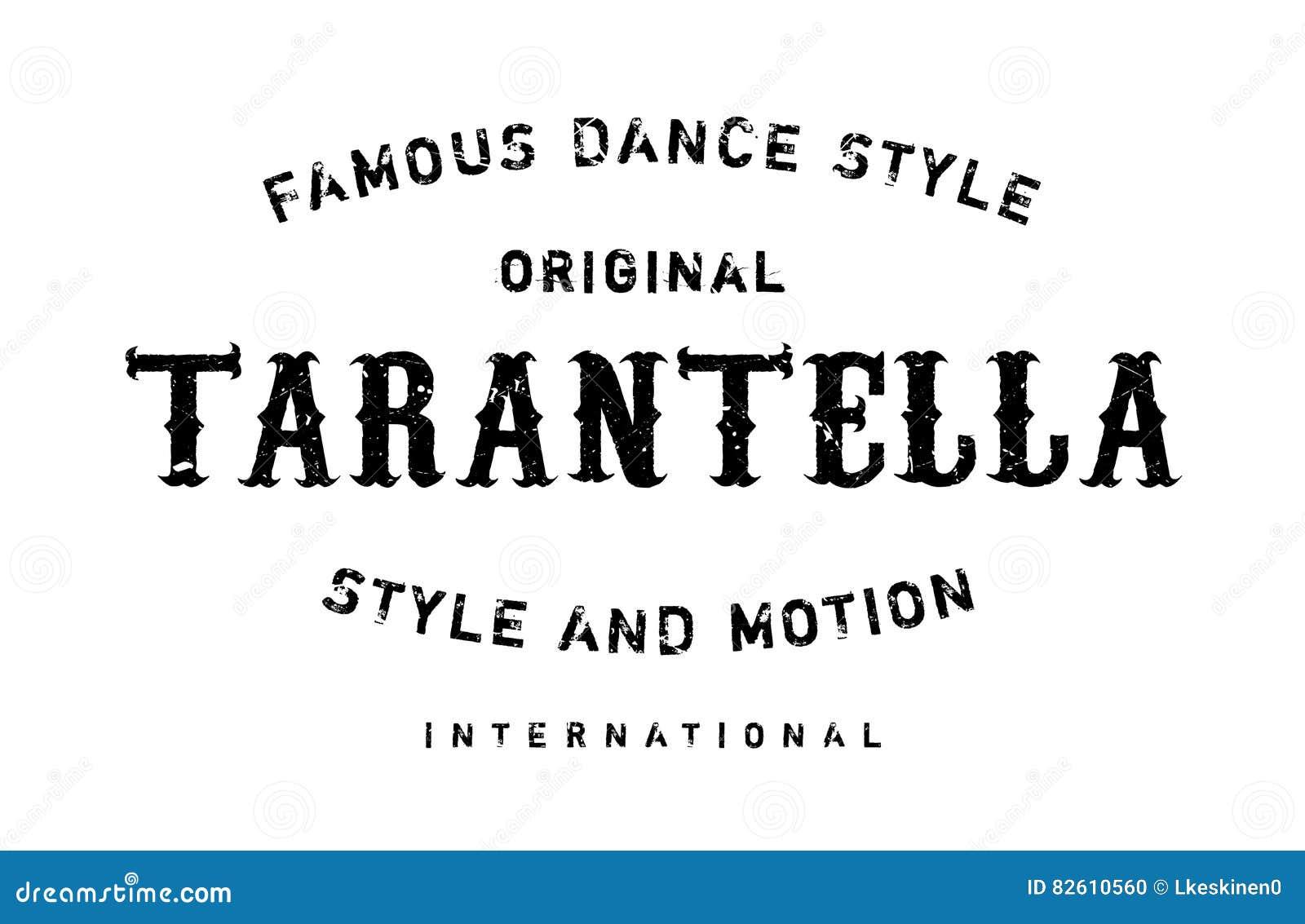 Estilo famoso de la danza, sello de la tarantela