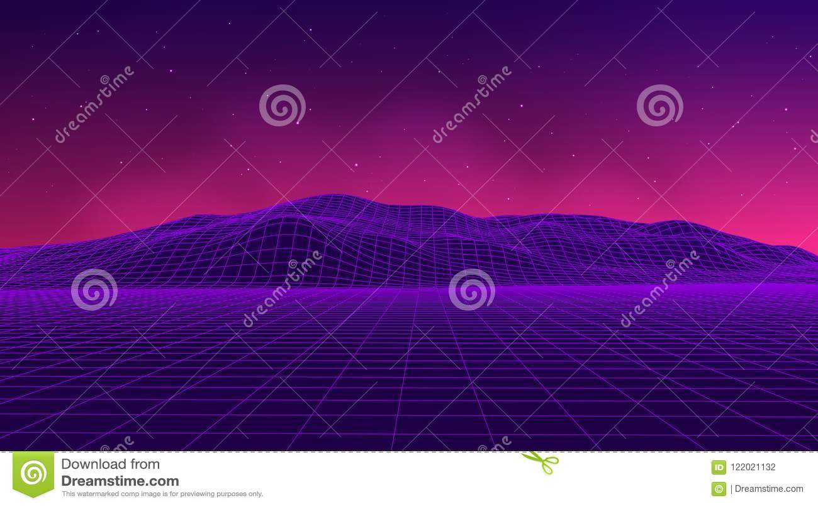 Estilo futurista abstracto de los años 80 del paisaje Fondo del partido del ejemplo 80s del vector fondo retro de la ciencia ficc