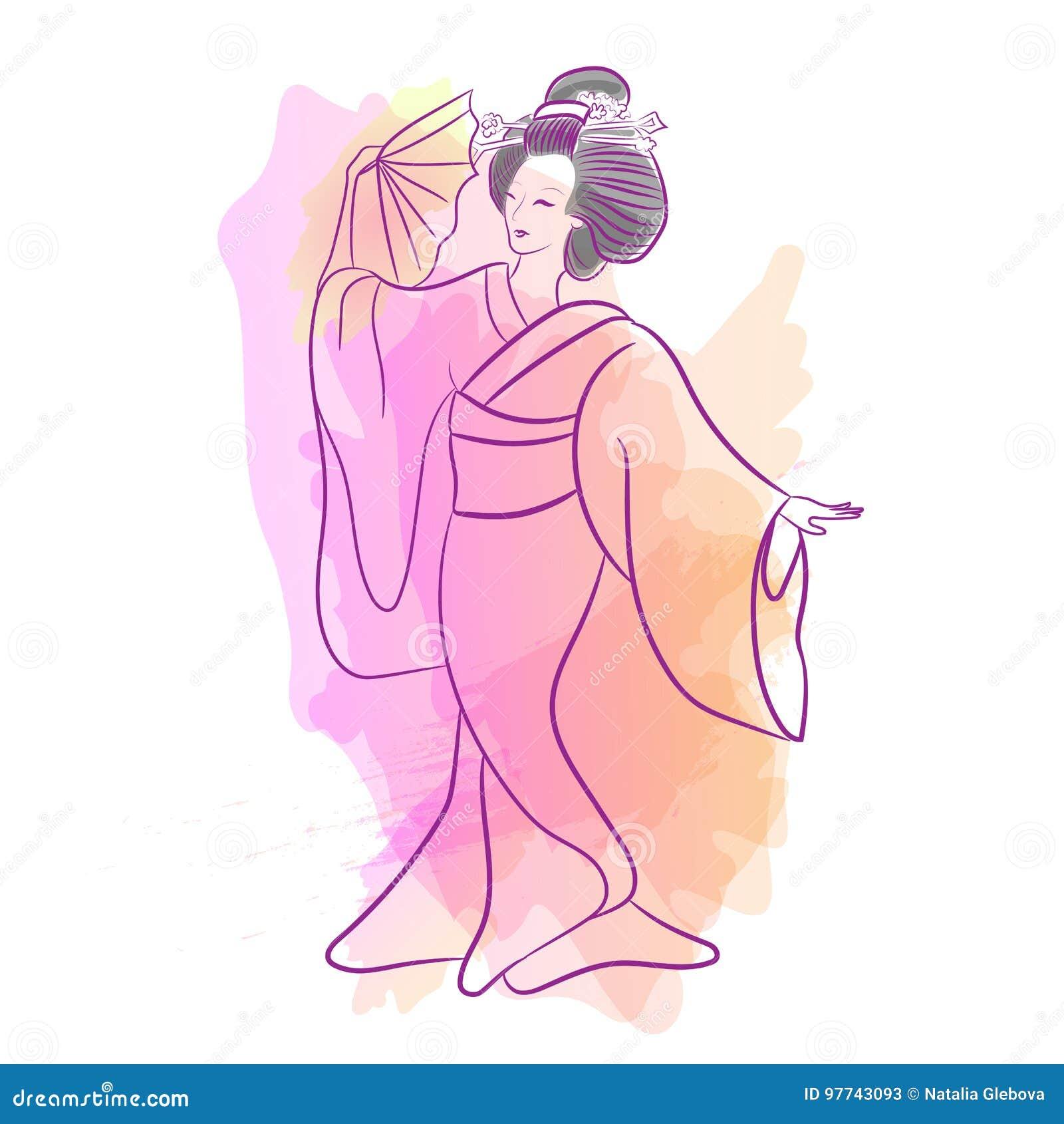 Estilo Japonés Clásico Del Waterclolr De La Mujer De Japan Del