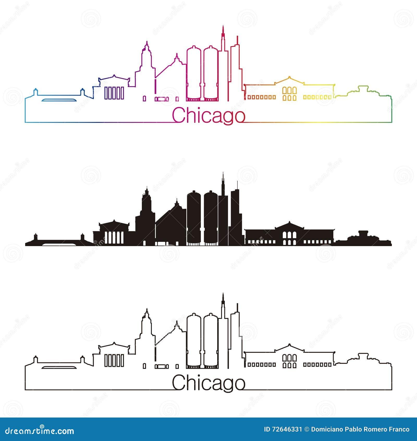 Estilo linear da skyline de Chicago com o arco-íris no fil editável do vetor