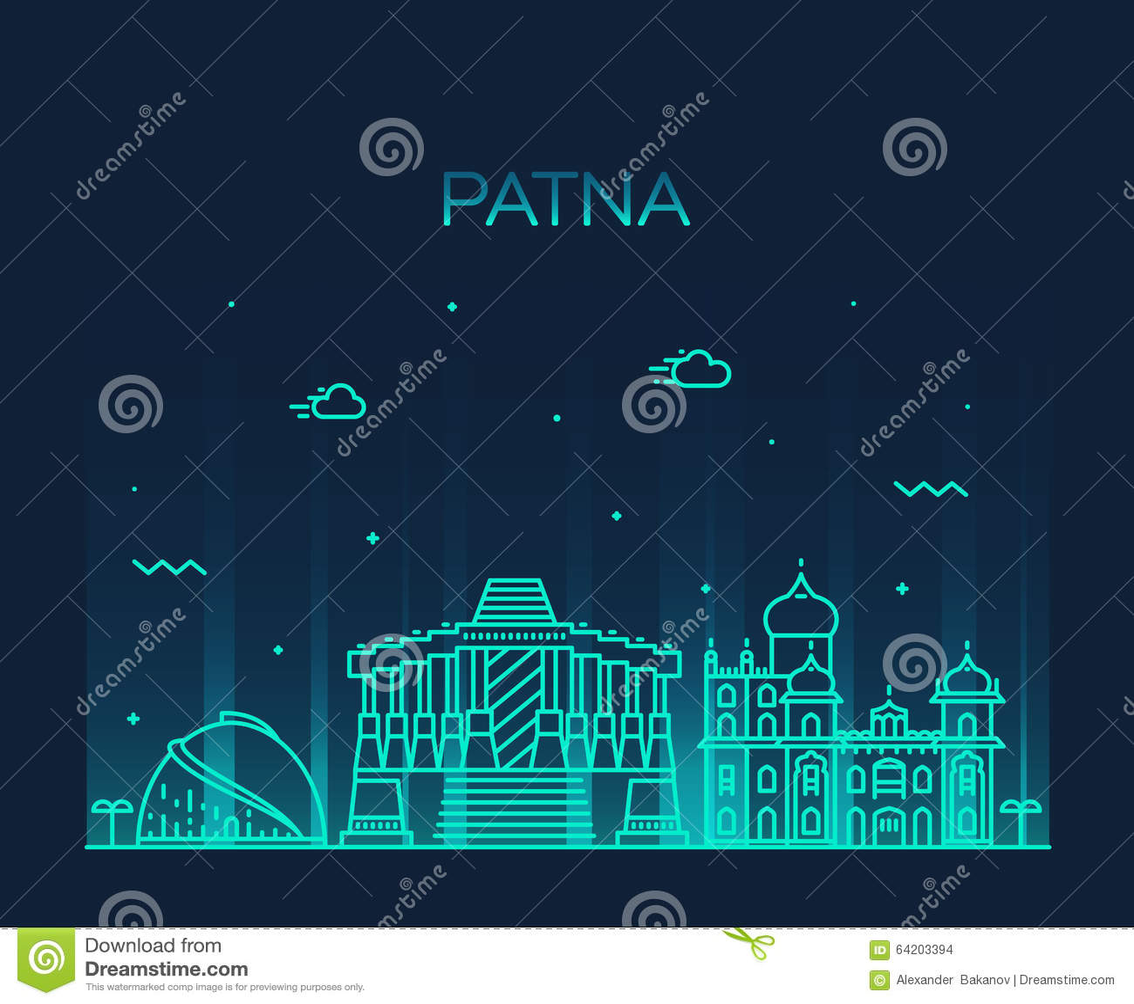 Estilo linear del vector de la silueta del horizonte de Patna