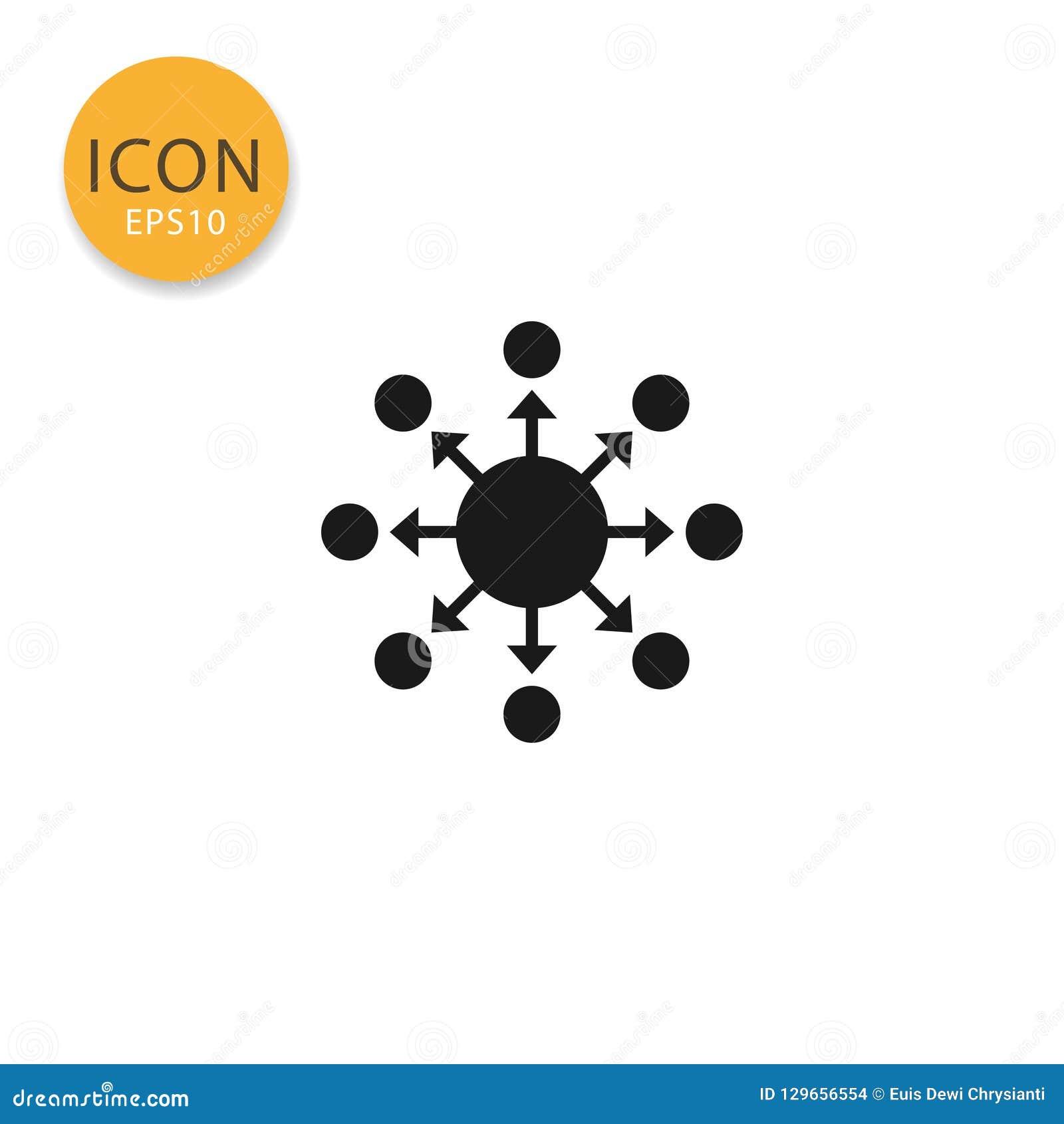 Estilo liso isolado ícone de espalhamento da distribuição