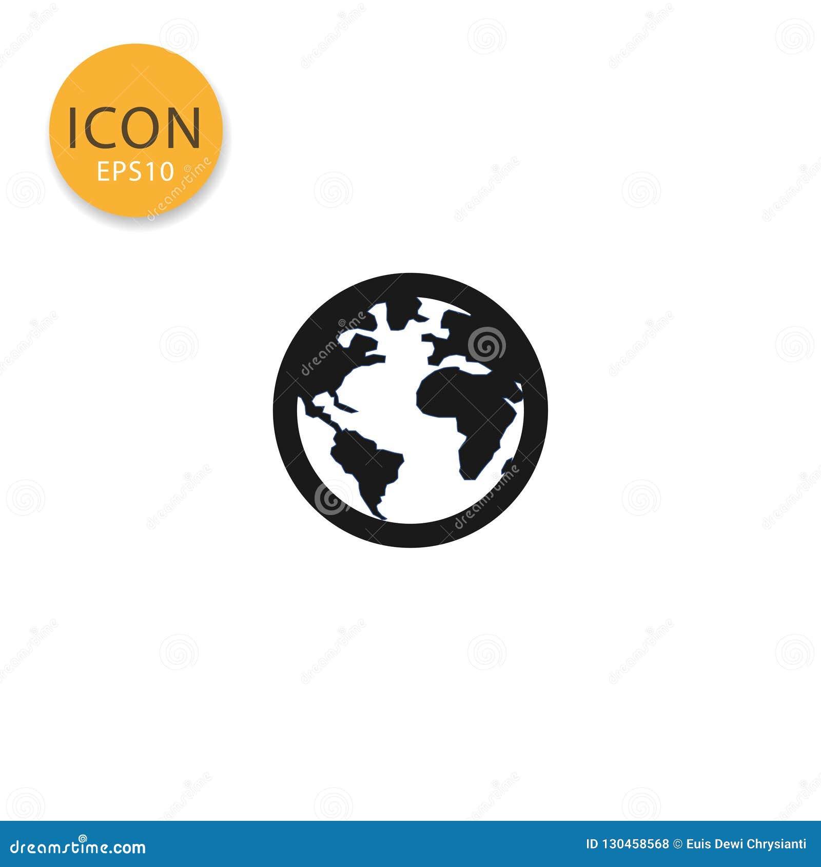 Estilo liso isolado ícone do mapa do mundo do globo