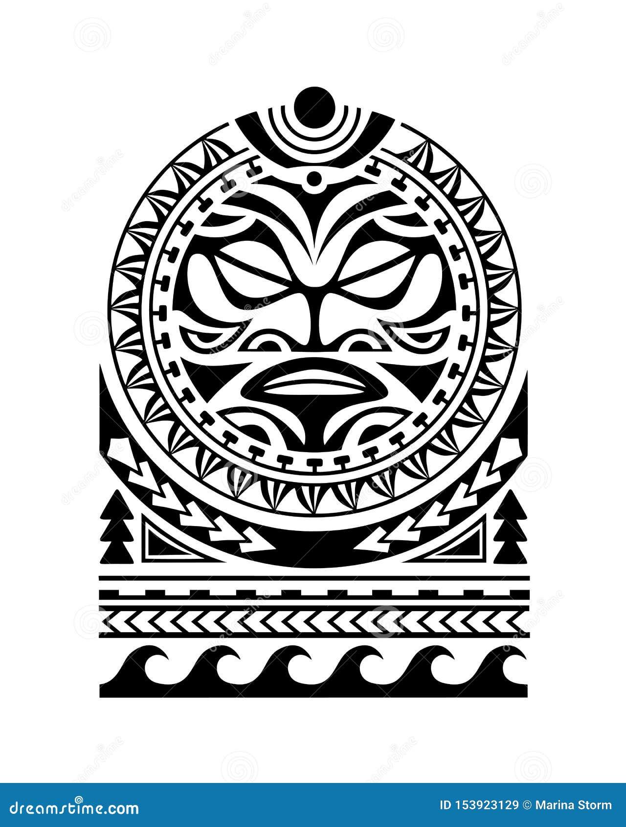 Estilo maori do esboço da tatuagem para a cara do sol do ombro