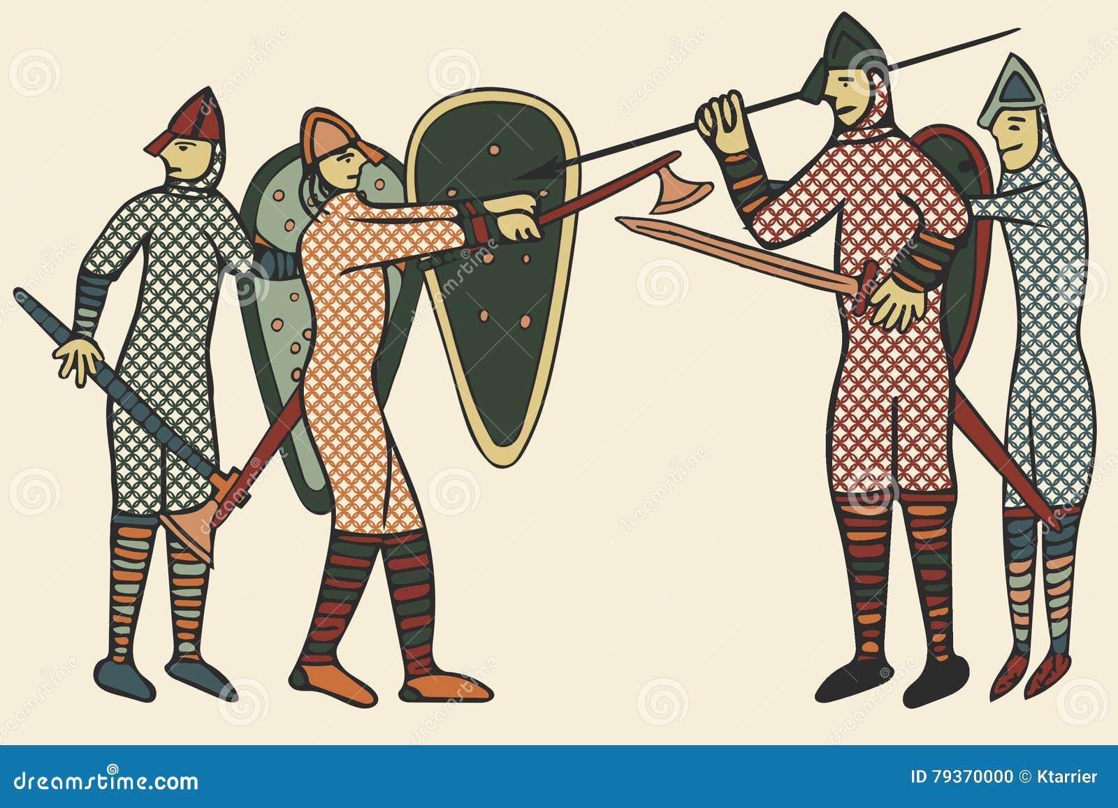 Estilo medieval de Norman Soldiers & x28; Computer& x29; arte finala