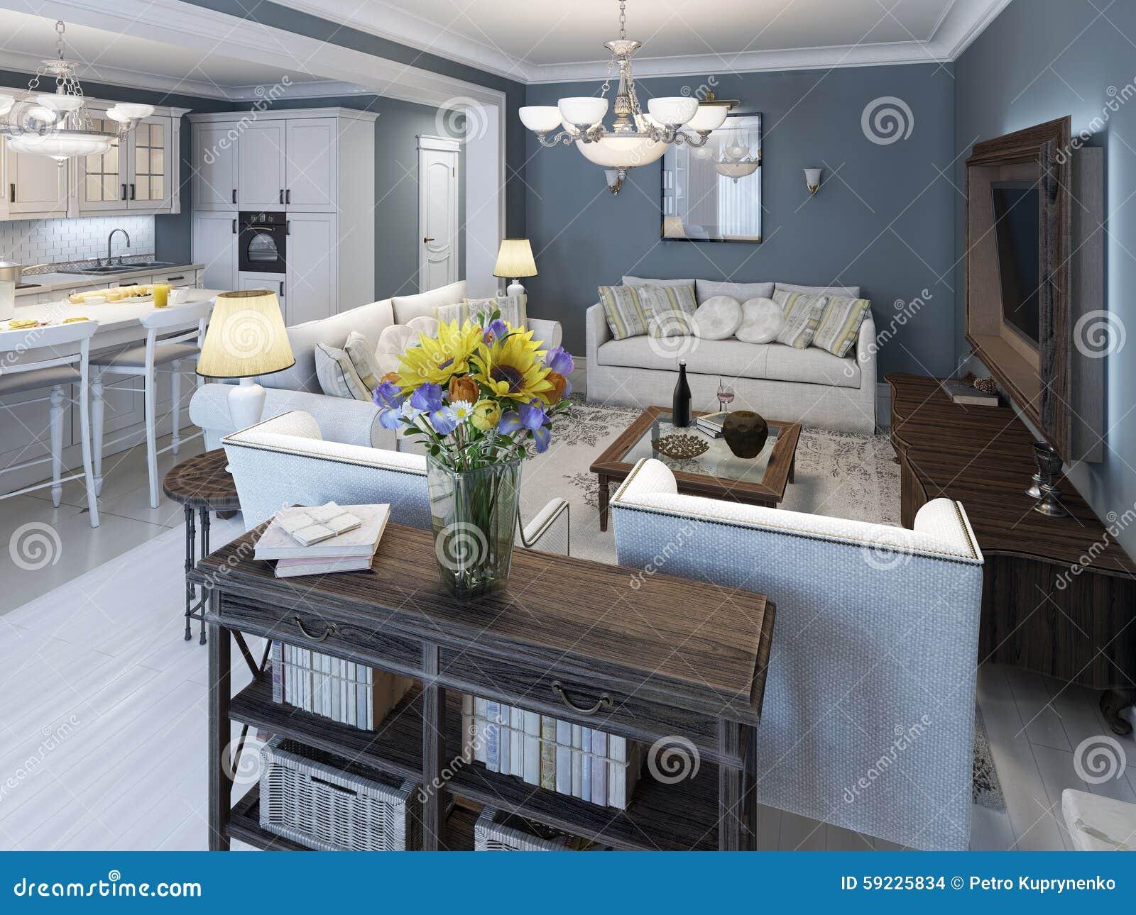 Estilo mediterráneo de la sala de estar con las paredes azules