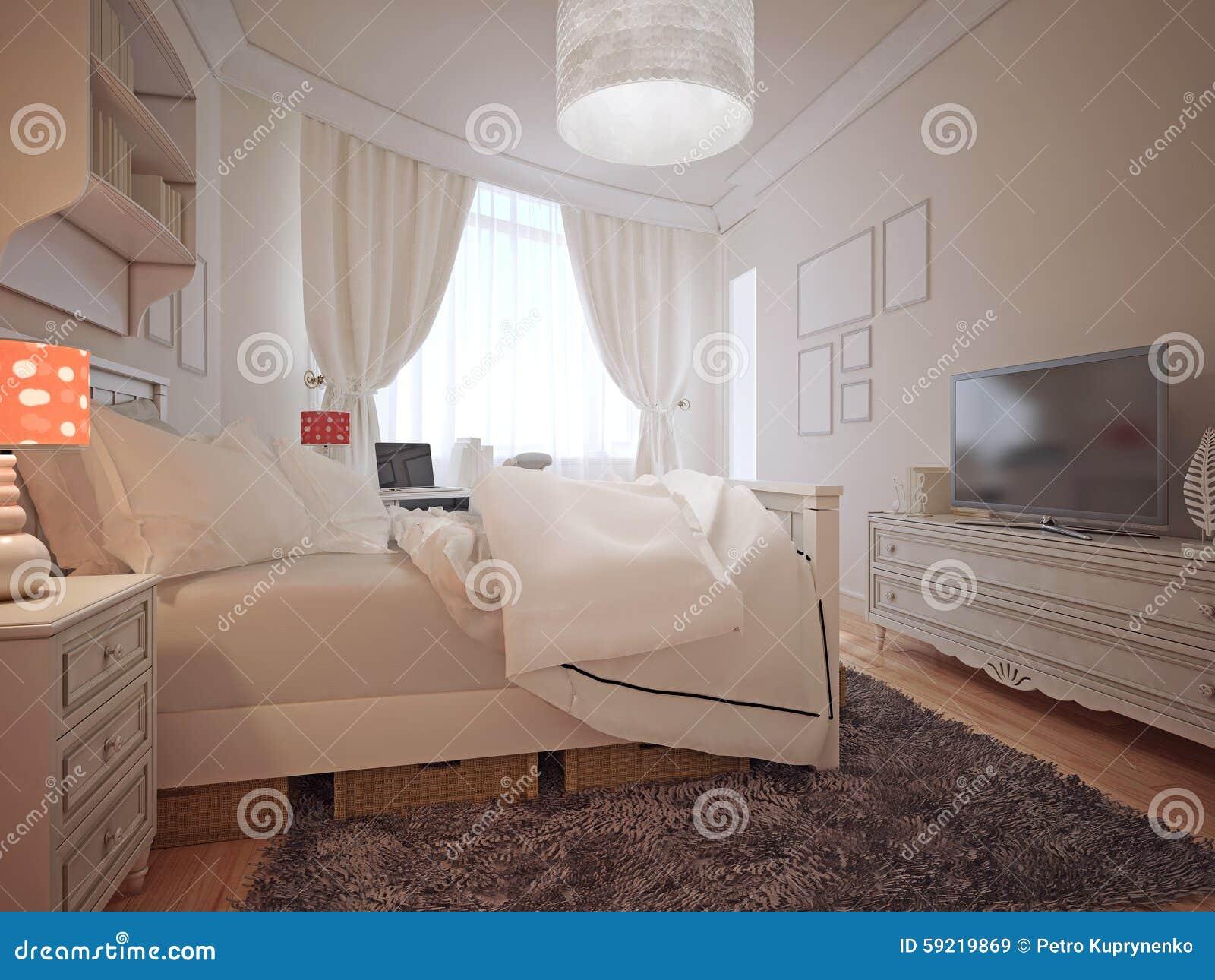 Estilo mediterráneo del dormitorio de lujo