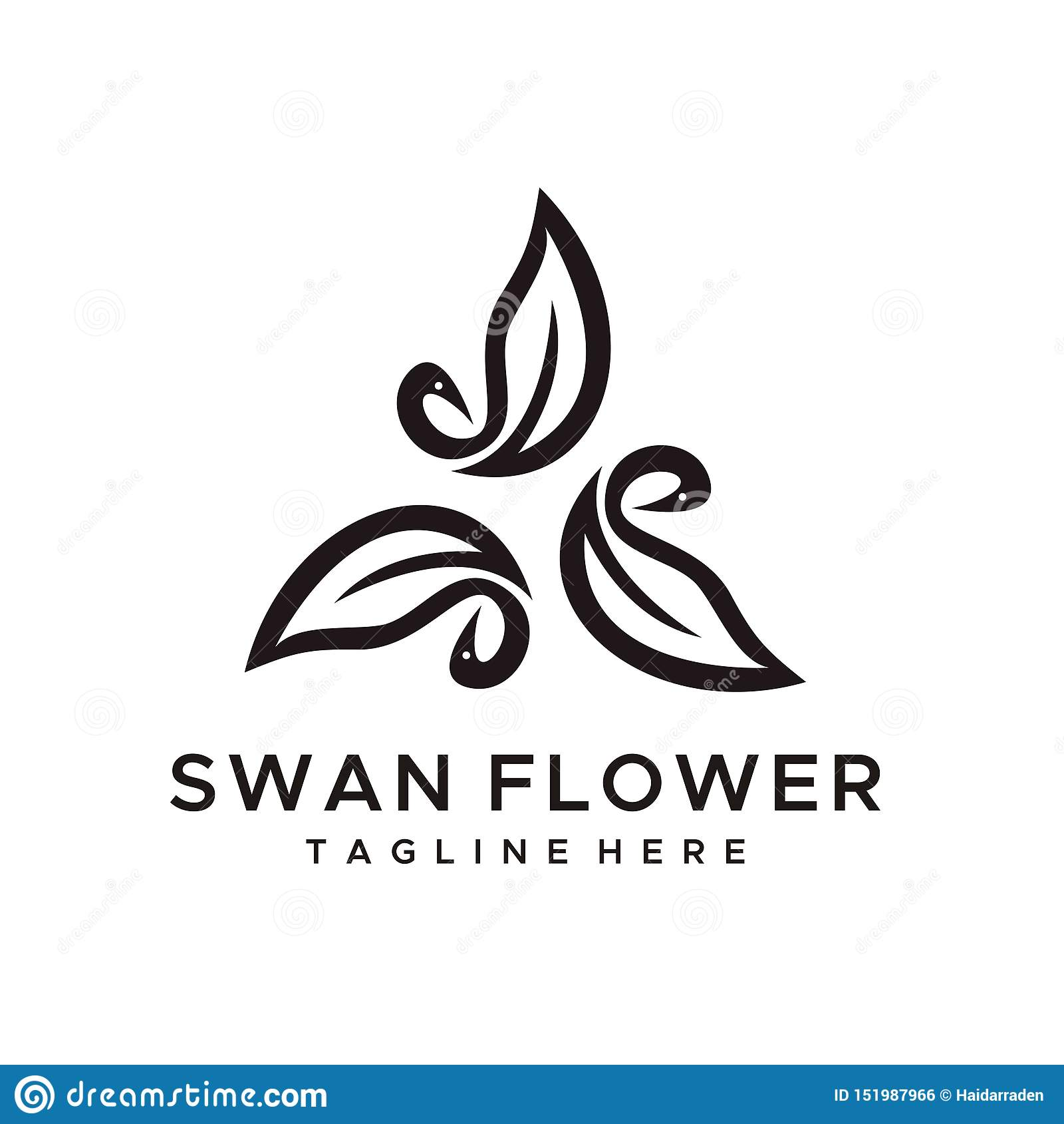 Estilo minimalista del vector del diseño del logotipo de la flor del cisne