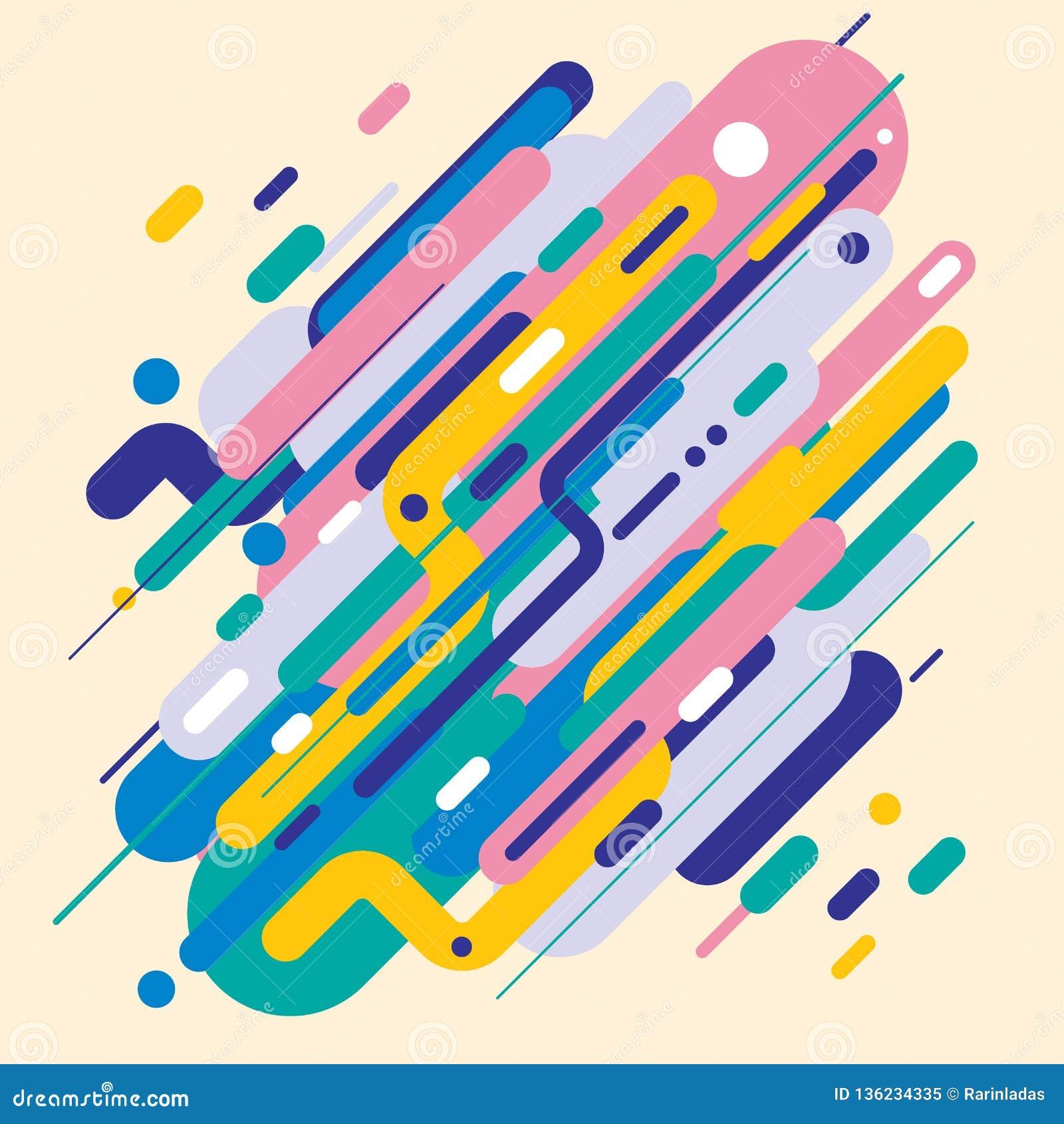 Estilo moderno abstracto con la composición hecha de diversas formas redondeadas en formas coloridas del diseño