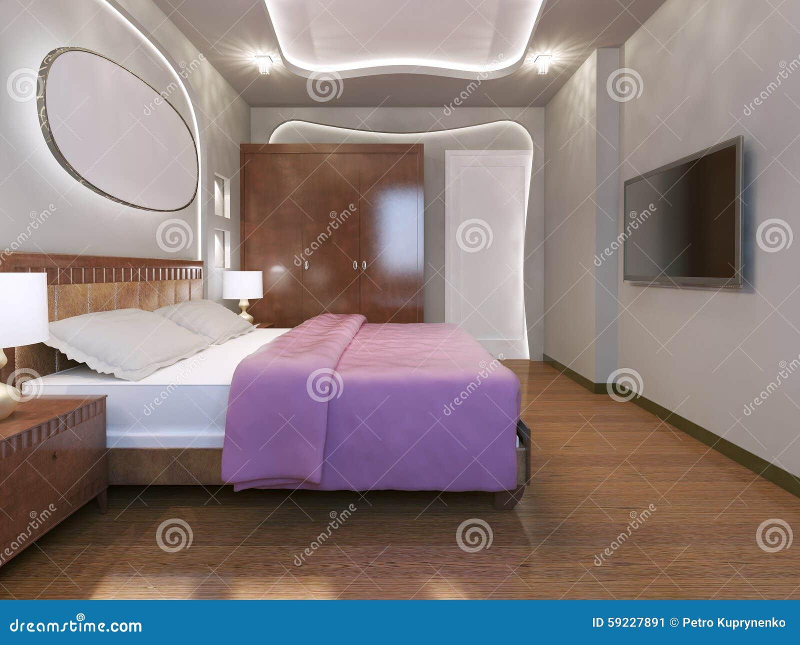 Download Estilo Moderno Del Dormitorio Brillante Stock de ilustración - Ilustración de lámpara, techo: 59227891