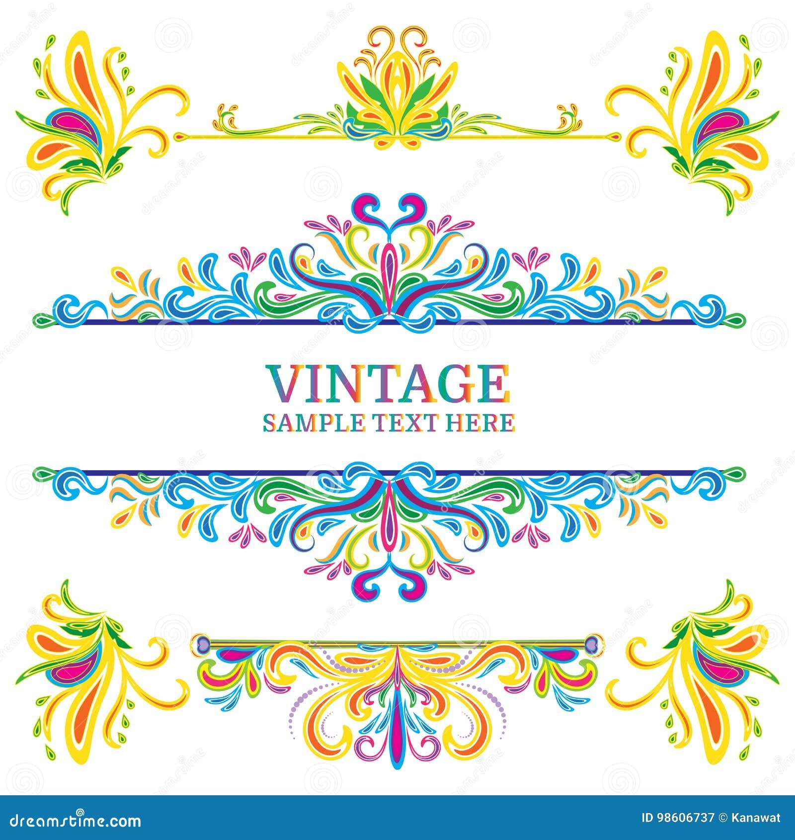 38b04d1433 Estilo multicolor del vintage de los elementos de las decoraciones del  vector