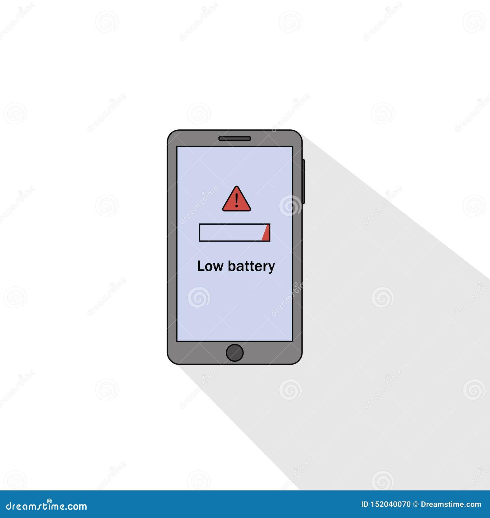 Estilo plano de la batería baja de Smartphone Ilustraci?n del vector