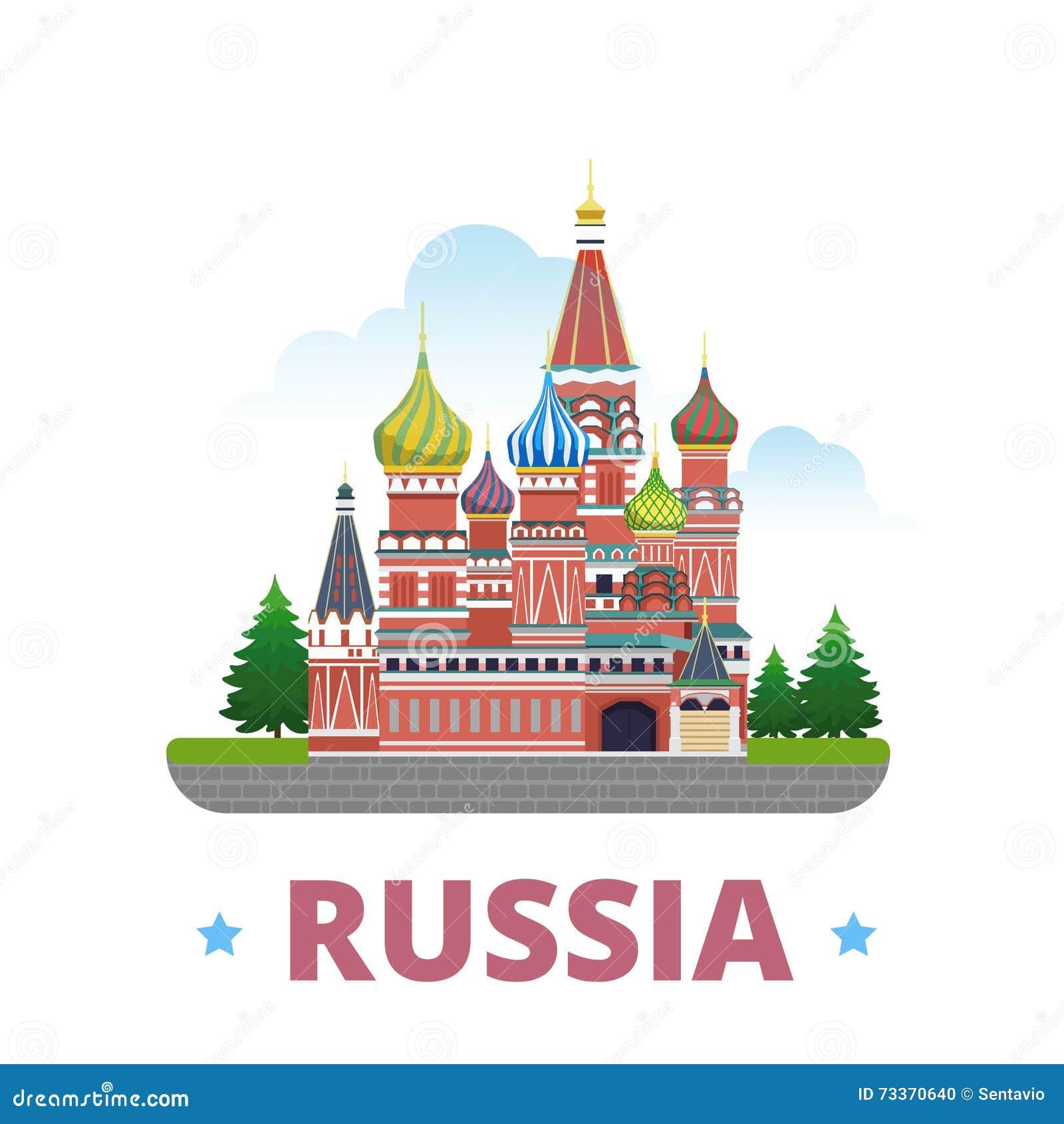 Estilo plano de la historieta de la plantilla del diseño del país de Rusia
