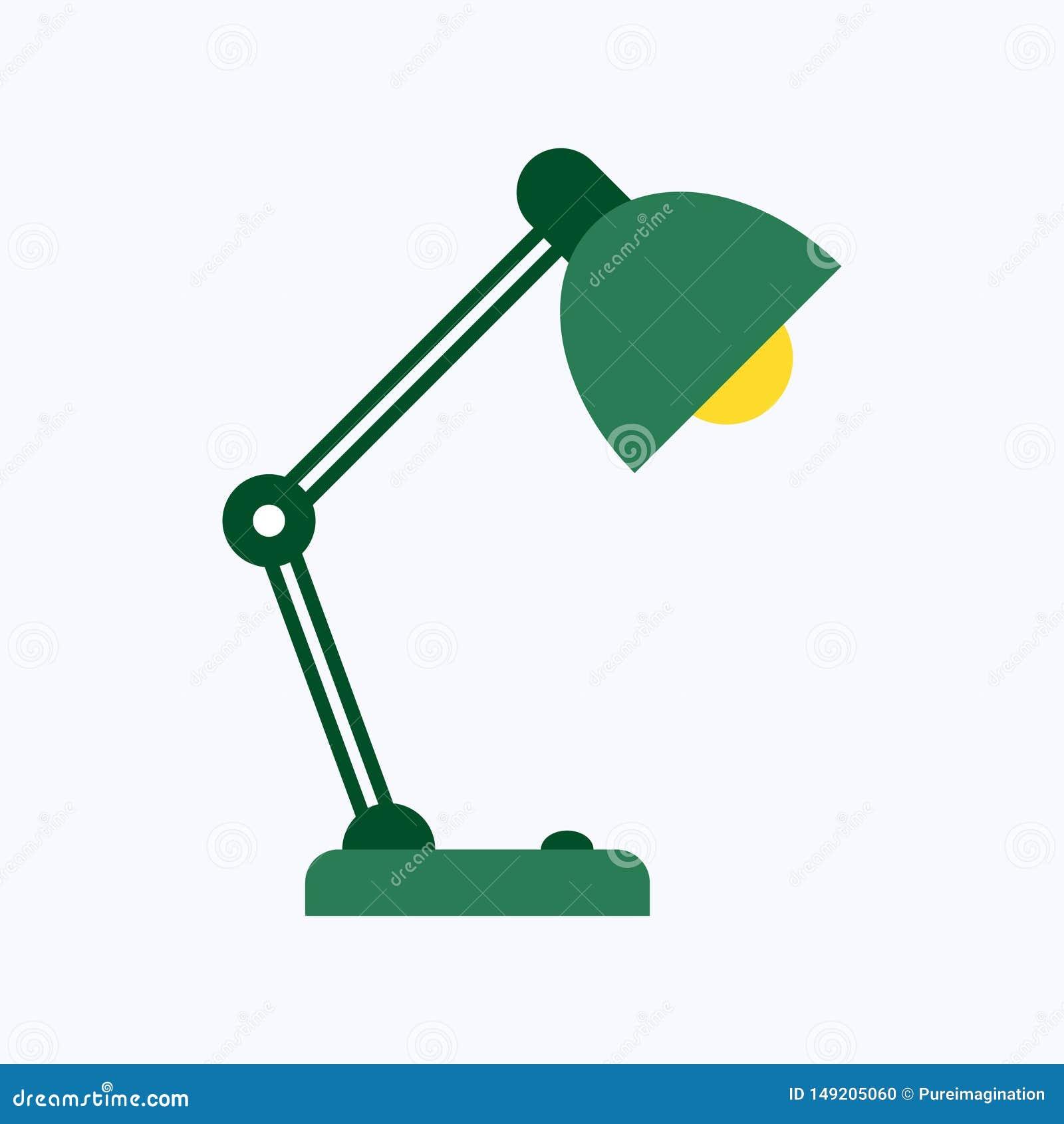 Estilo plano de la lámpara de la oficina de la tabla aislado