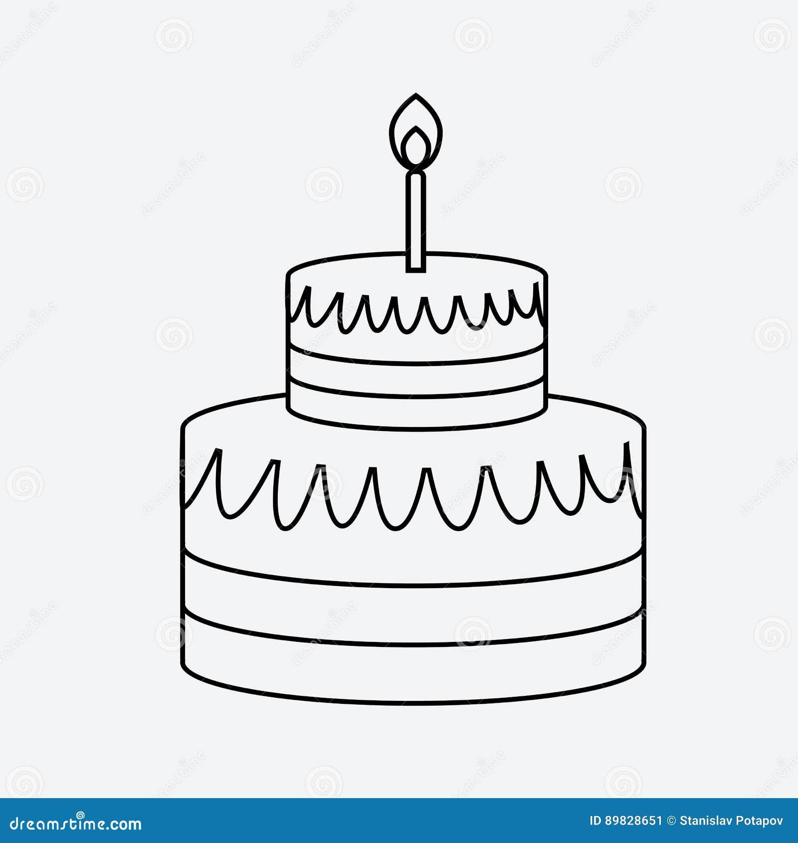 Estilo plano mínimo del icono linear de la torta