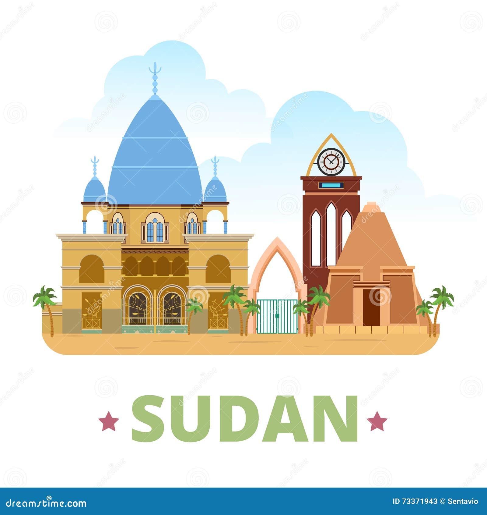 Estilo plano w de la historieta de la plantilla del diseño del país de Sudán