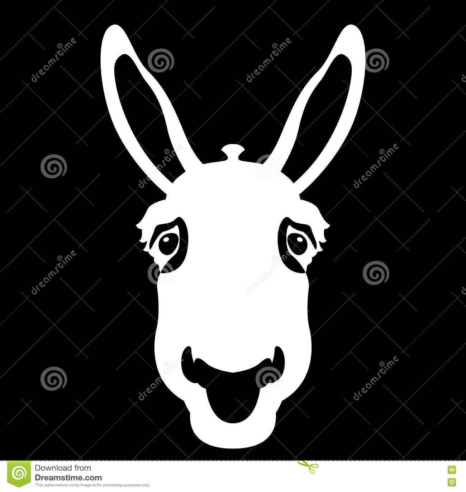 Estilo principal del vector de la cara del burro plano