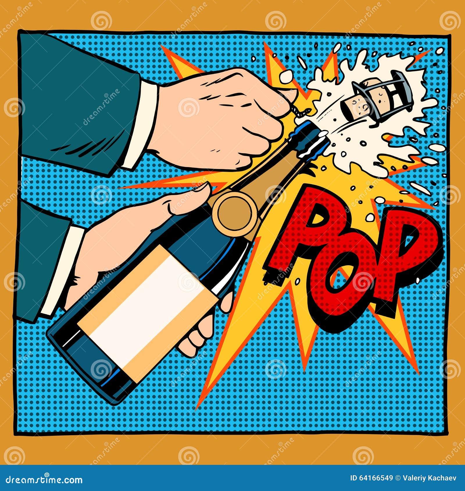 Estilo retro del arte pop de la botella del champán de la abertura