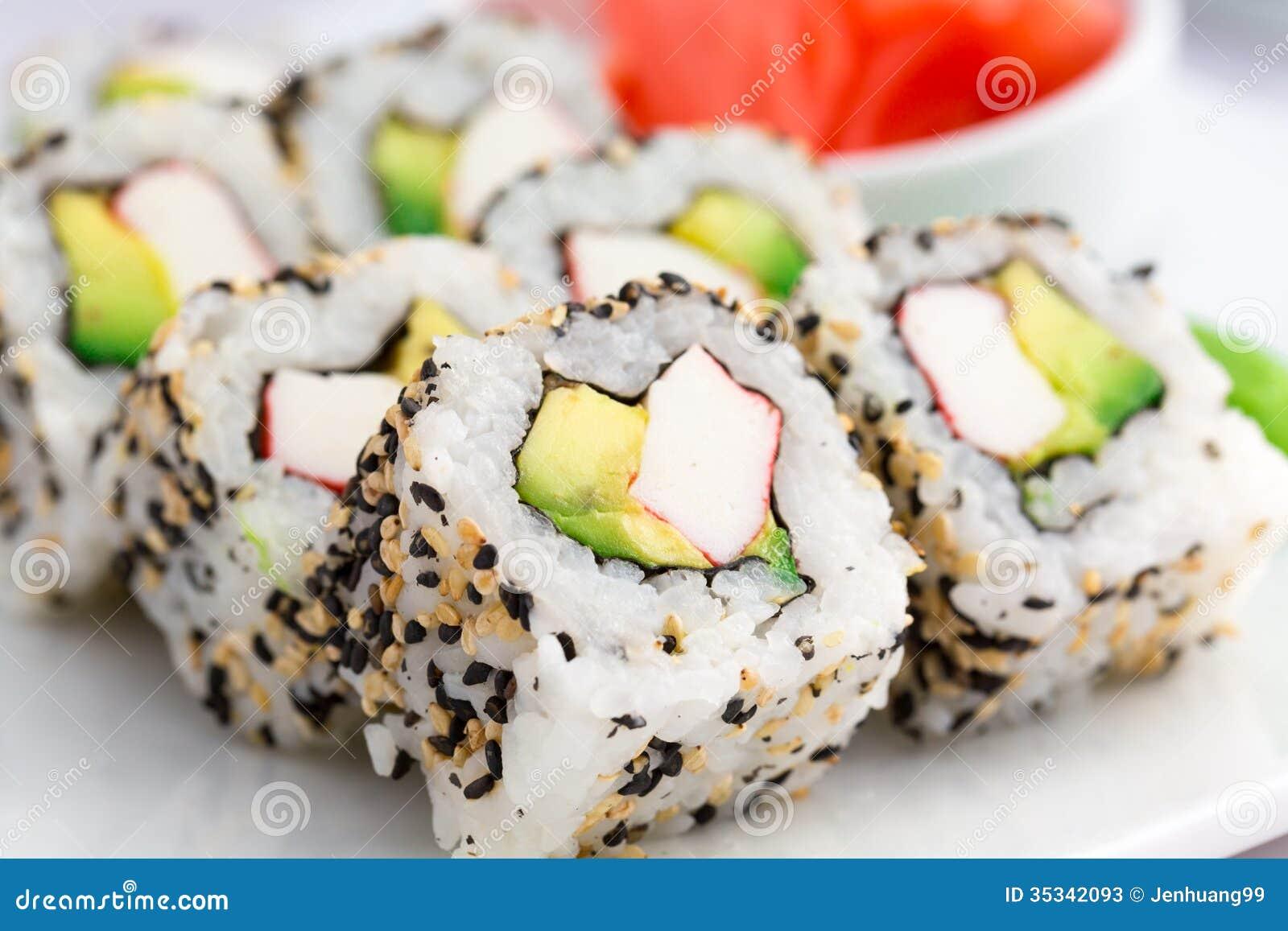 comida jengibre plato sushi