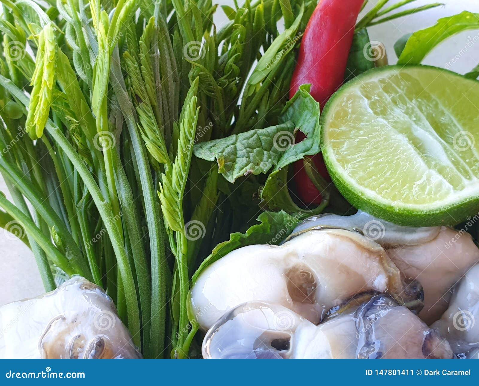 Estilo tailandês do alimento, ostras frescas com vegetais acácia, limão cortado e pimentão, como um fundo