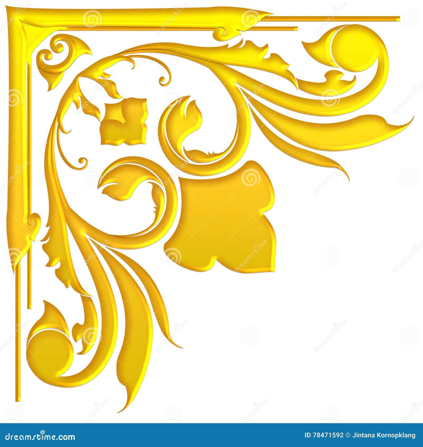Estilo tailandês do projeto tradicional antigo velho do quadro do ouro