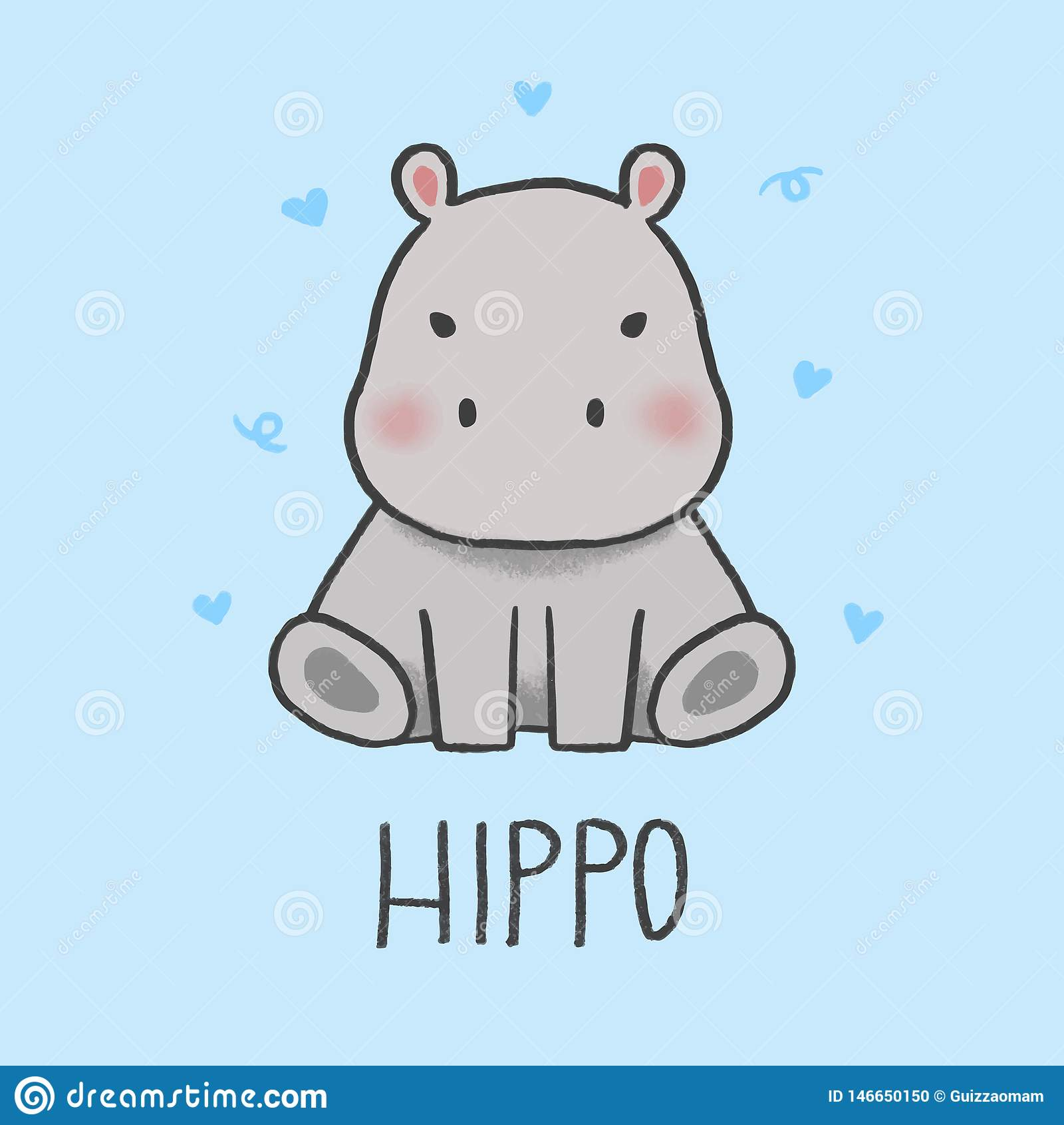 Estilo tirado dos desenhos animados do hipopótamo mão bonito