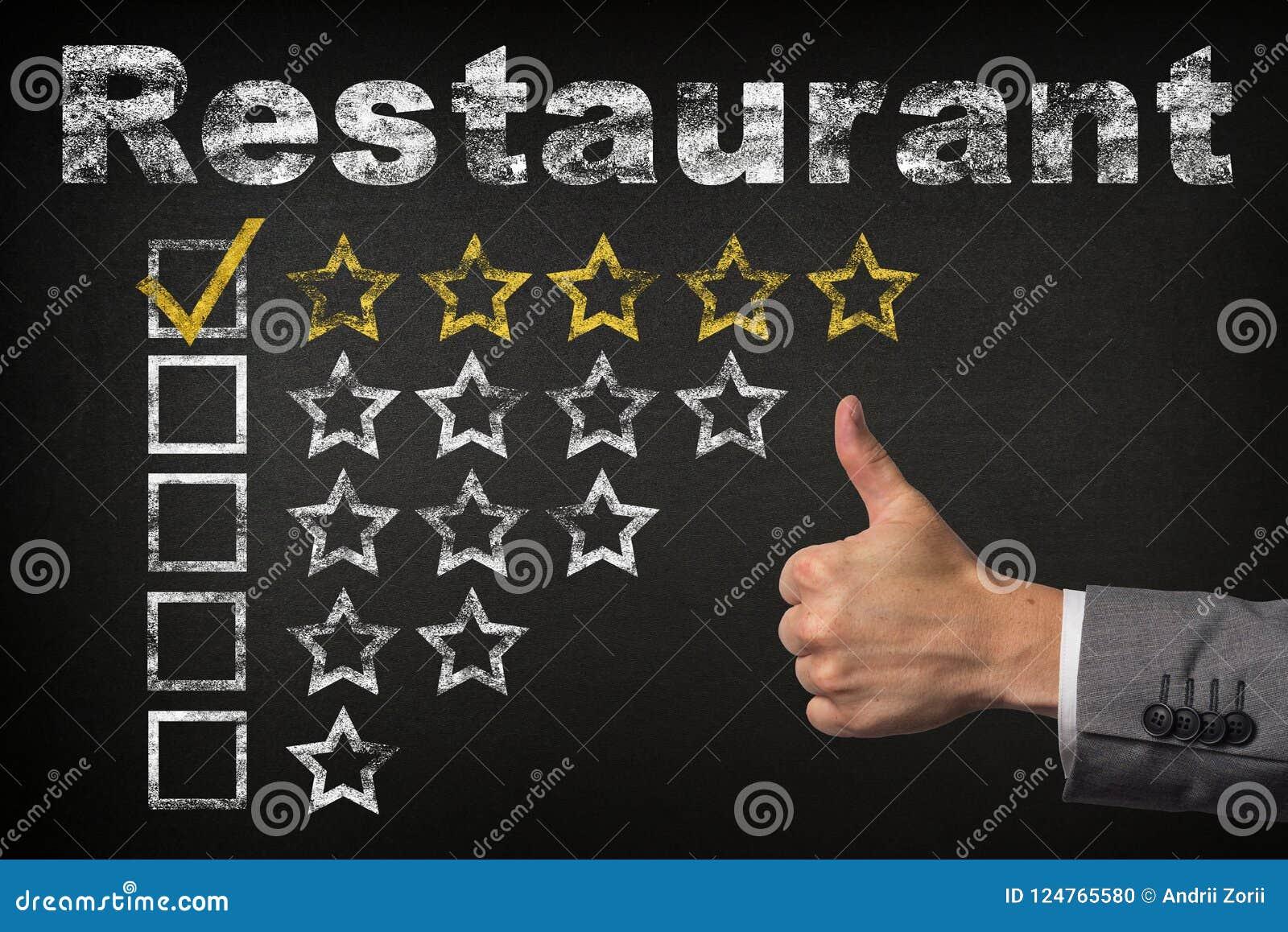 Estimation cinq étoiles du restaurant cinq Les pouces vers le haut de l estimation d or de service se tient le premier rôle sur l