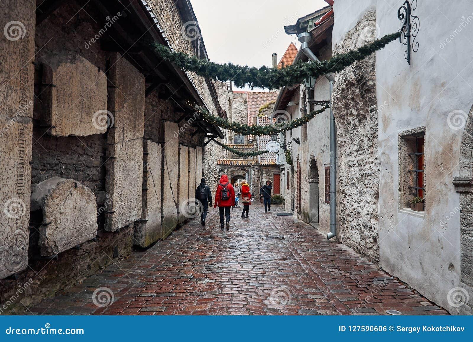 Estland Steeg Katarina in de Oude Stad van Tallinn 2 januari, 2018