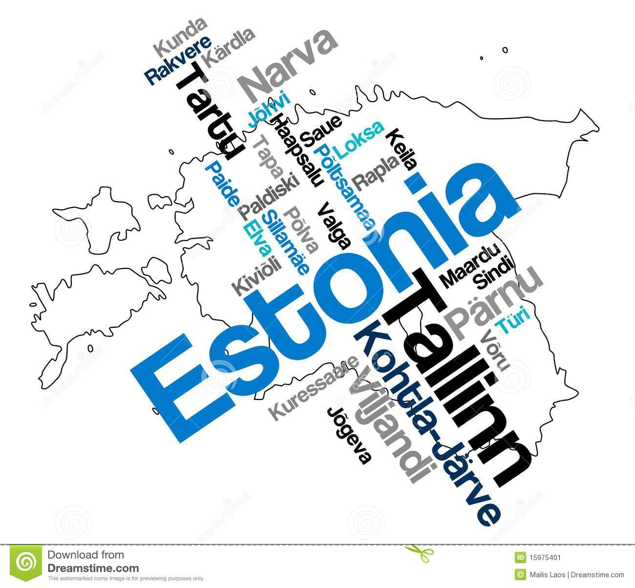 Estonia Map And Cities Stock Vector Image Of Words Cities - Estonia map download