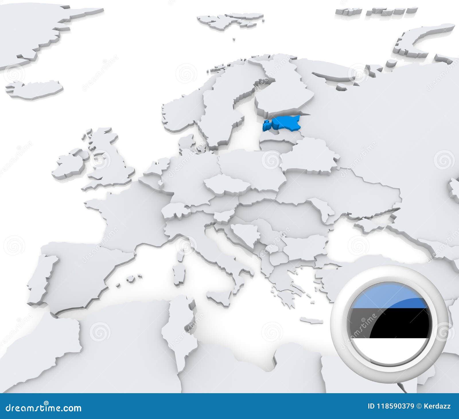 Map Of Europe Georgia.Estonia On Map Of Europe Stock Illustration Illustration Of Georgia
