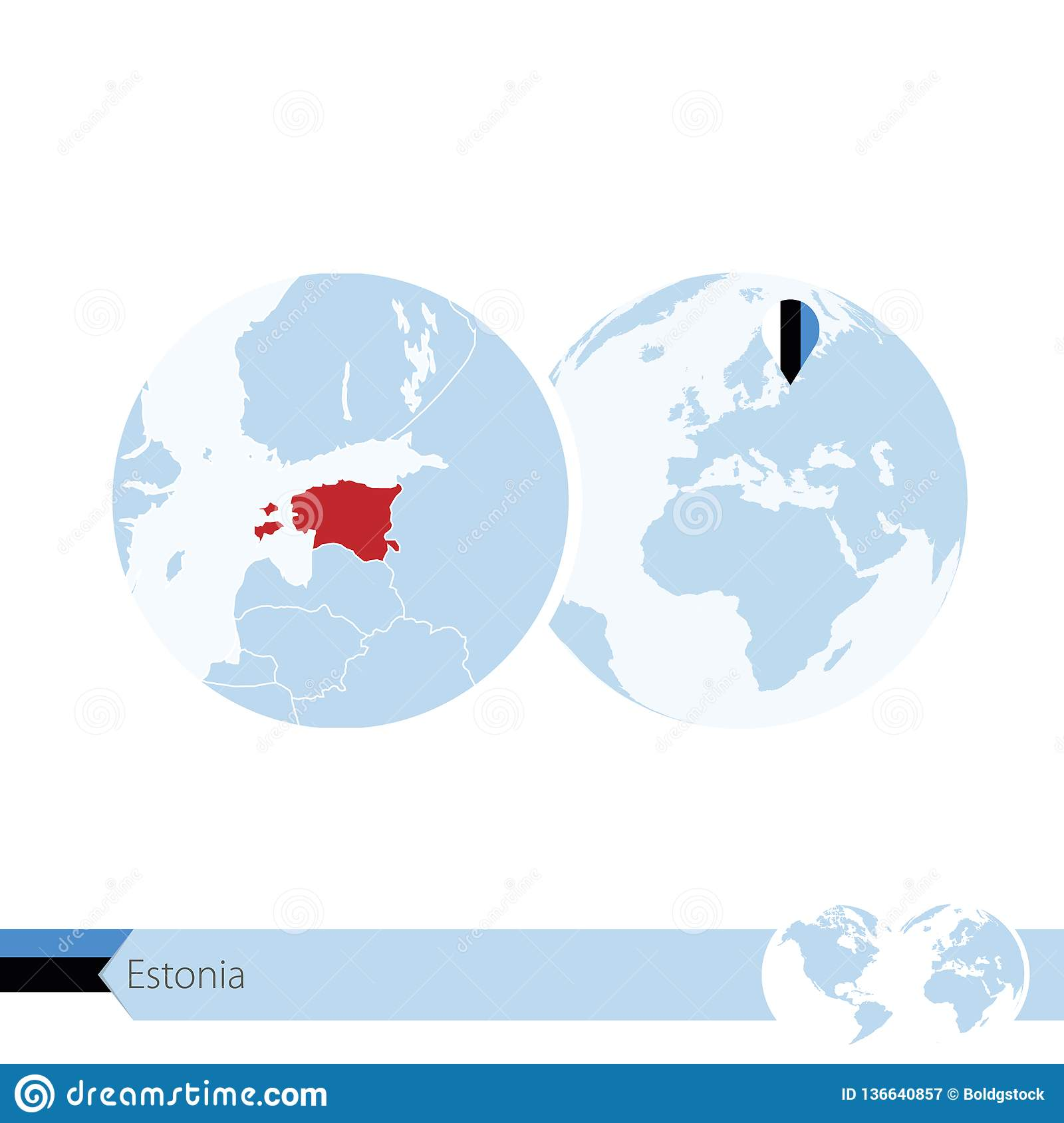 Estonia On World Globe With Flag And Regional Map Of Estonia Stock