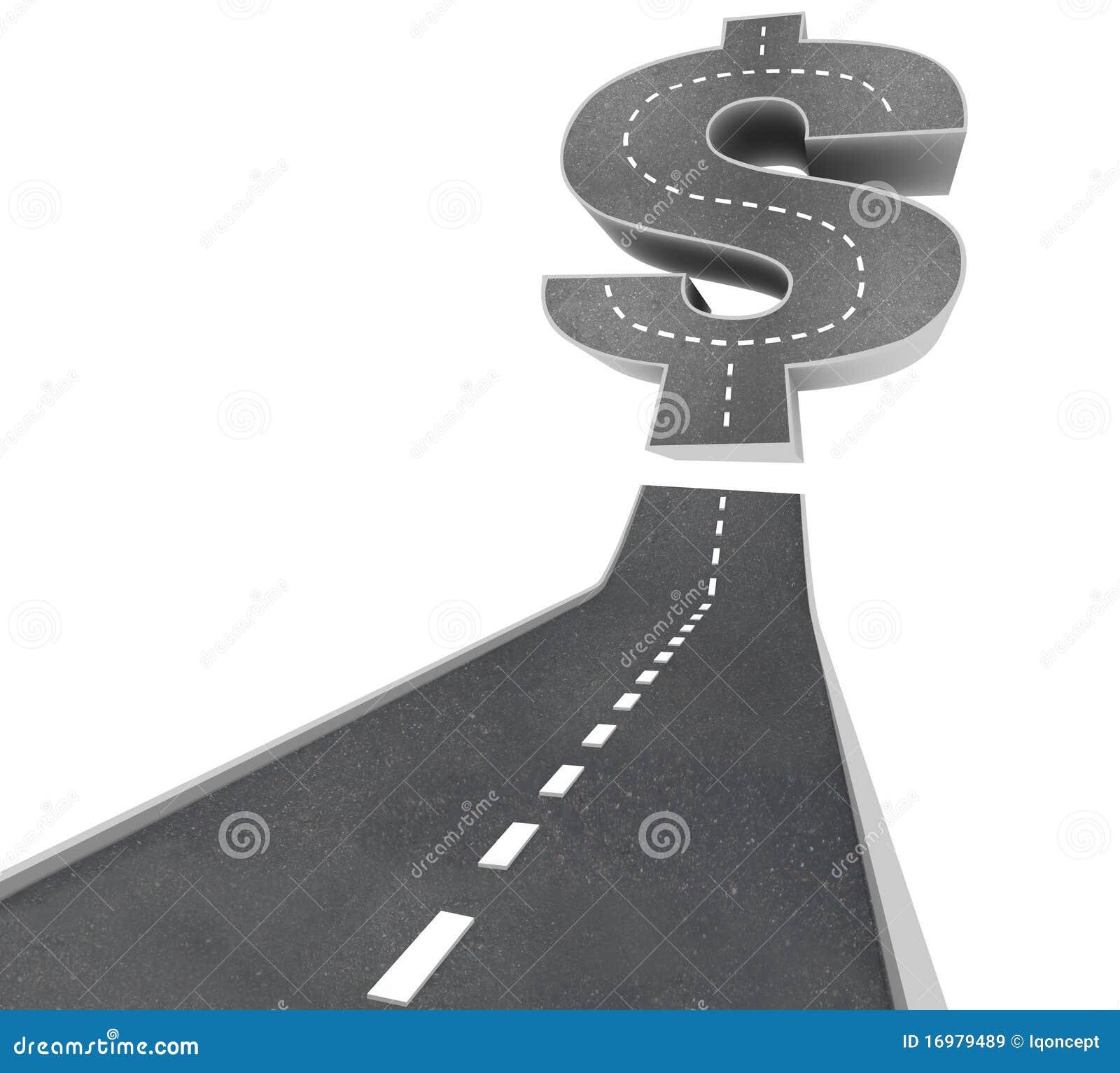 Estrada às riquezas - sinal de dólar na rua