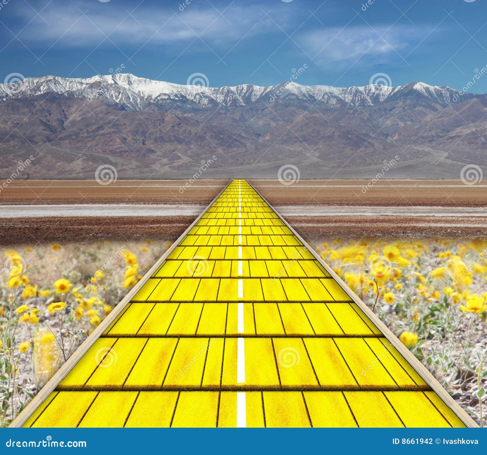 Estrada amarela do tijolo