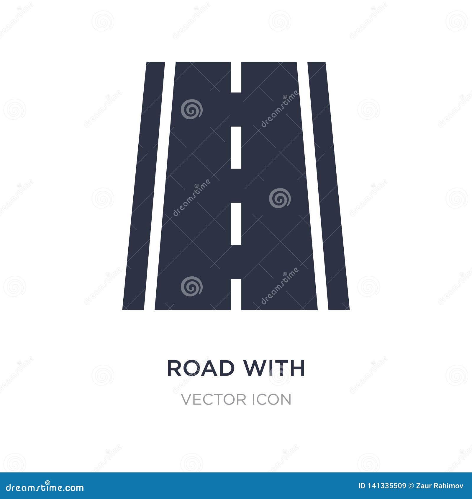 Estrada com linhas quebradas ícone no fundo branco Ilustração simples do elemento do conceito do transporte