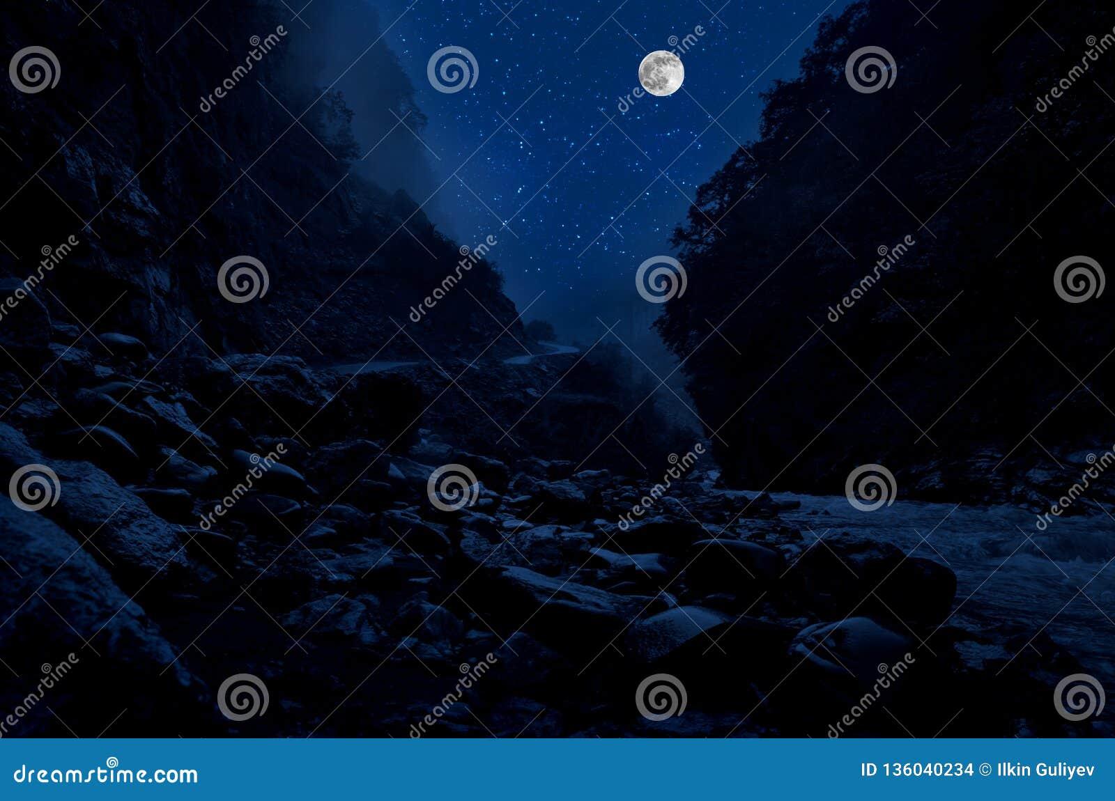 Estrada da montanha através da floresta em uma noite da Lua cheia Paisagem cênico da noite da obscuridade - céu azul com lua azer