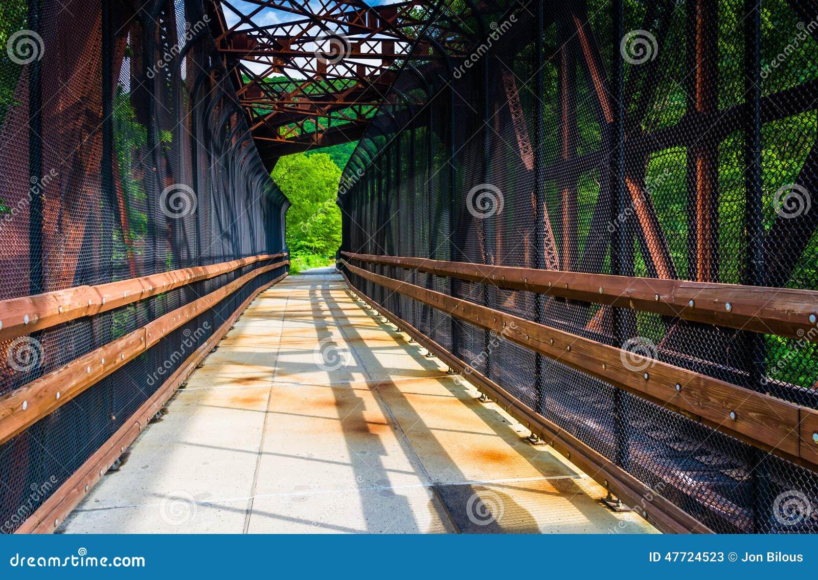 A estrada de ferro e a ponte pedestre em Lehigh Gorge o parque estadual, Penns